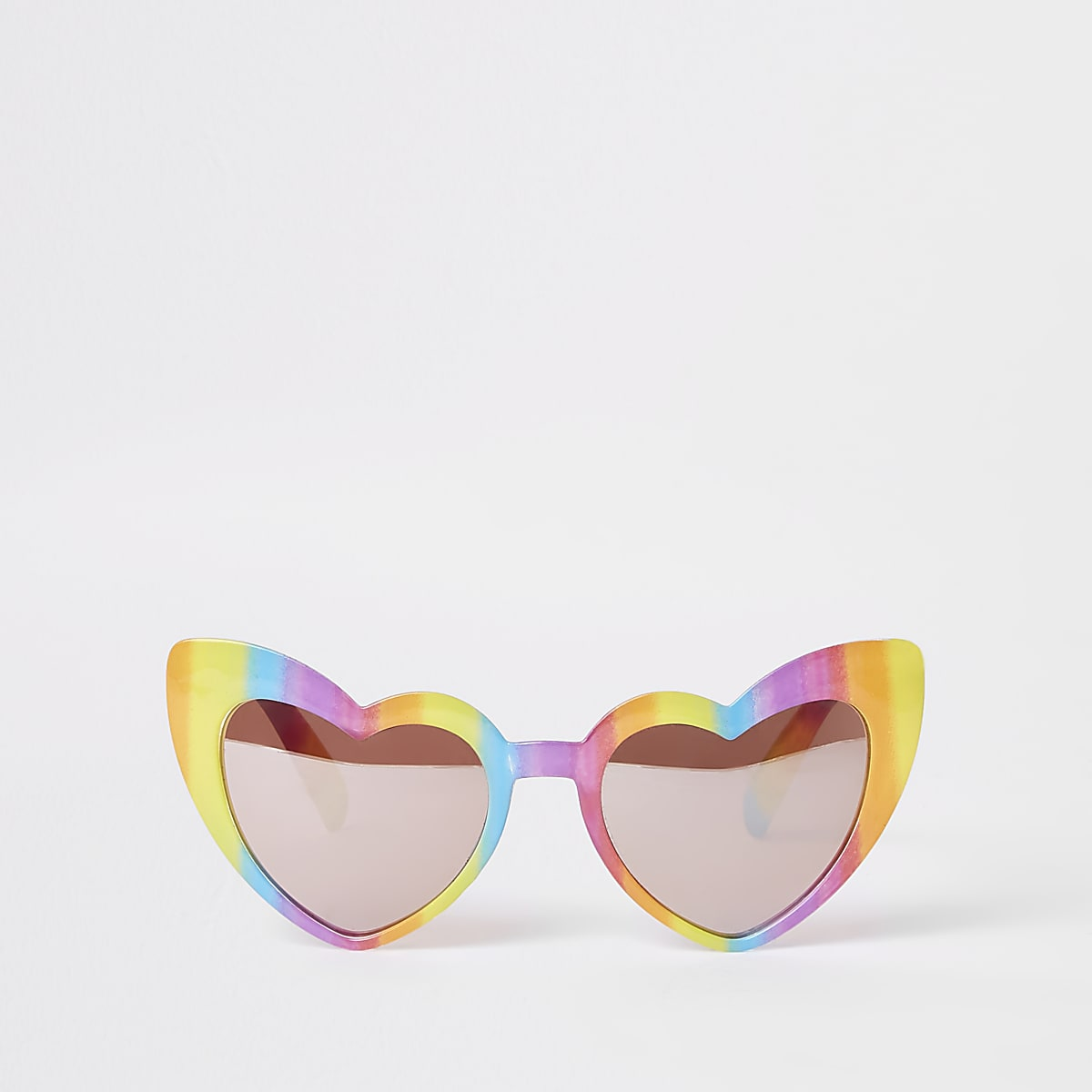 Girls yellow rainbow heart sunglasses