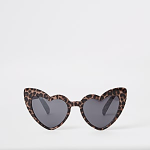 Girls brown leopard print heart sunglasses
