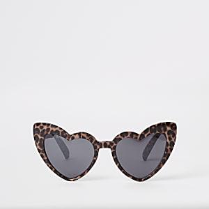 Lunettes de soleil en cœurs imprimé léopard marron pour fille