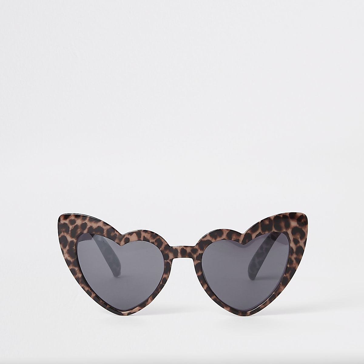 Girls brown leopard print heart sunglasses