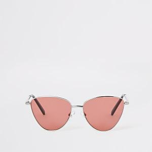 Lunettes de soleil œil de chat argentées à verres roses fille