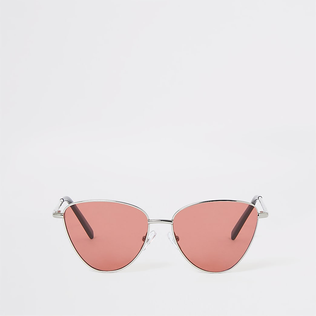 Girls silver tone pink lens cat sunglasses