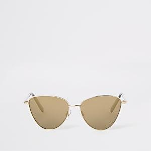 Goudkleurige cat-eye-zonnebril voor meisjes
