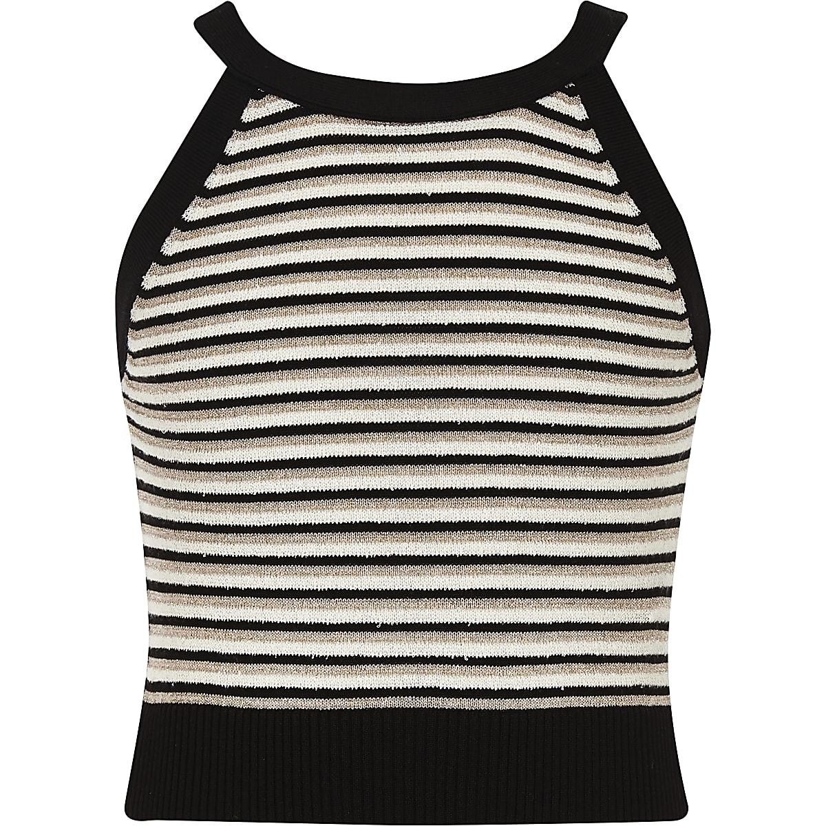 Girls black stripe knit sleeveless crop top