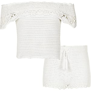 Ensemble Bardot au crochet blanc pour fille