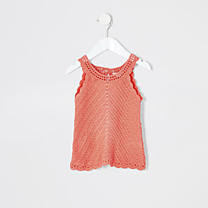 Mini girls coral crochet tank