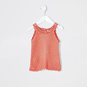 Mini - Koraalrood gehaakt hemdje voor meisjes