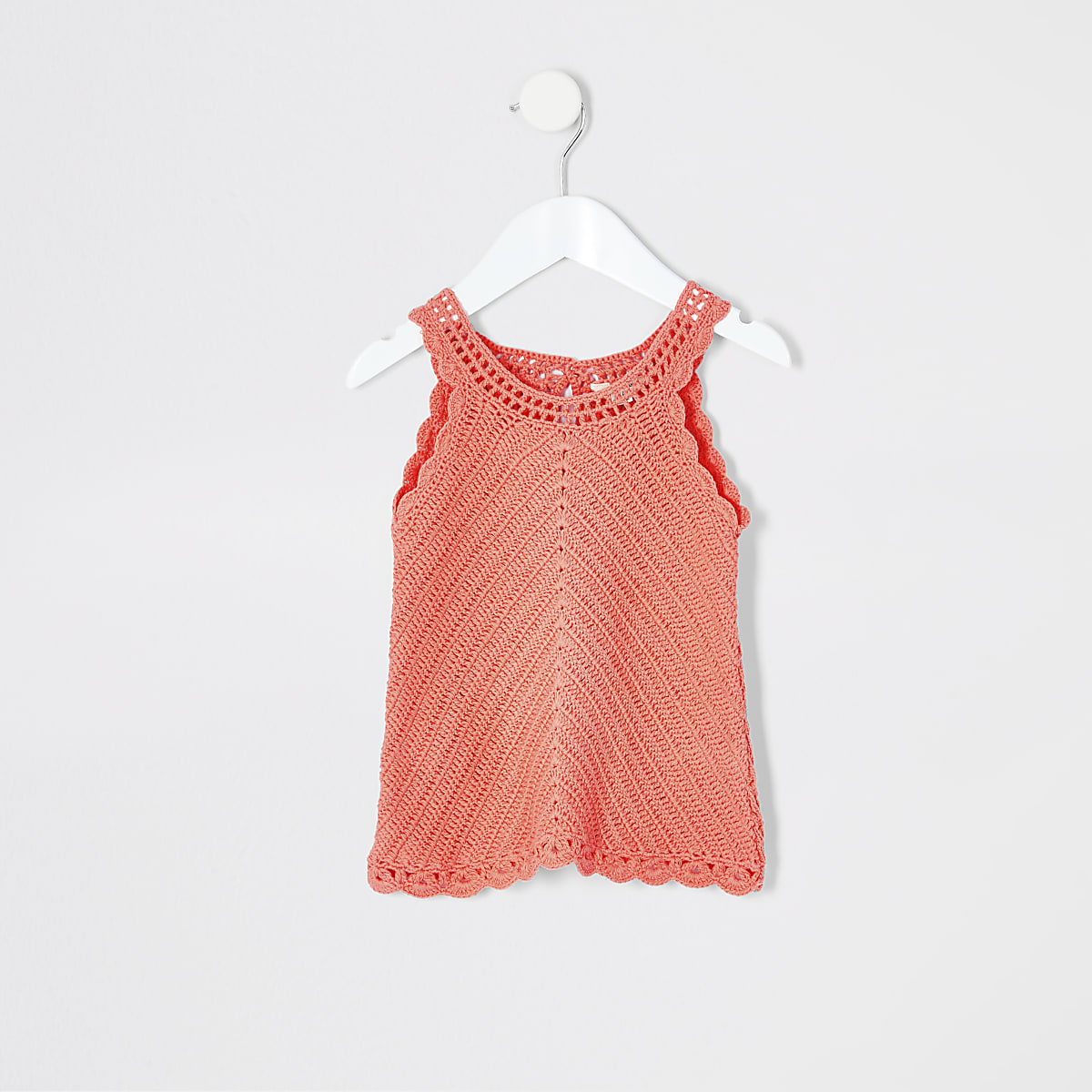 Mini girls coral crochet vest