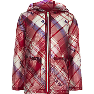 Girls red check rain mac