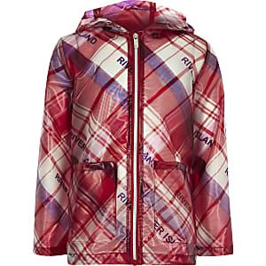 Girls red check rain mac