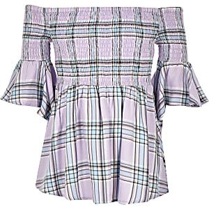 Girls purple check bardot top