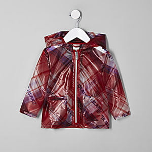 Mini girls red check RI rain mac