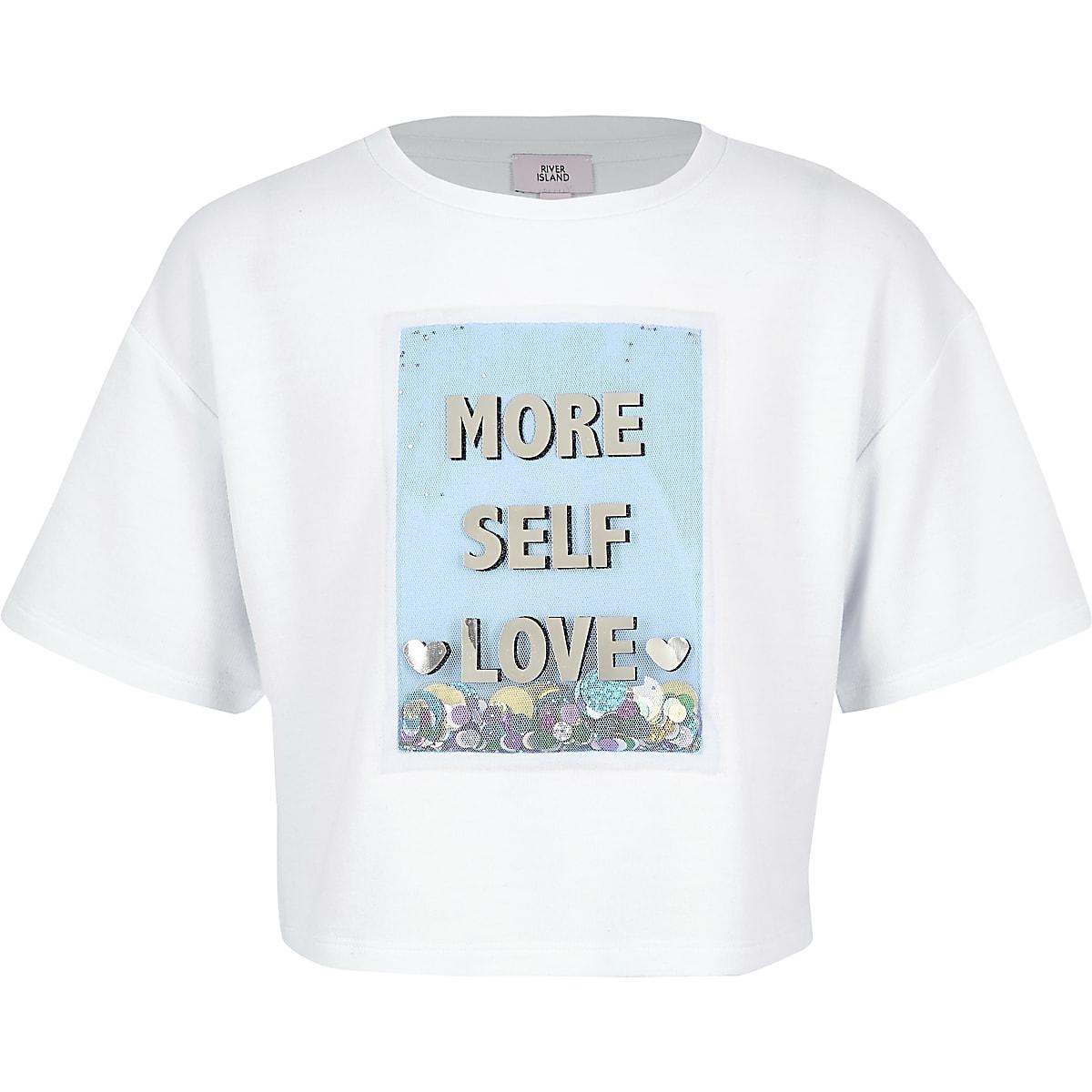 Girls white 'More self love' sequin T-shirt