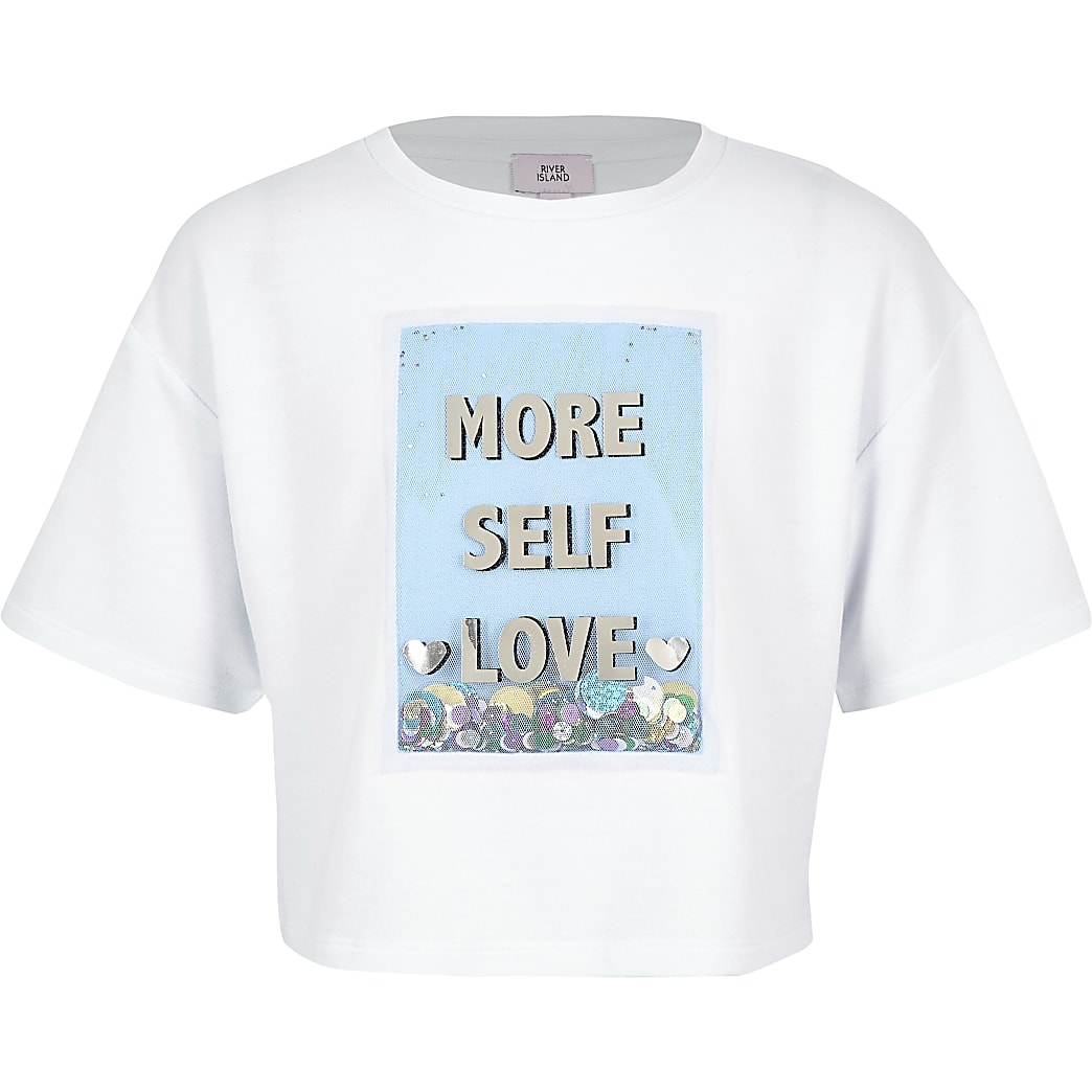Girls white 'More self love' sequin T-shirt
