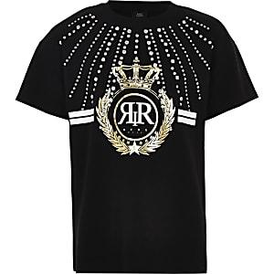 Girls black RI rhinestone embellished T-shirt