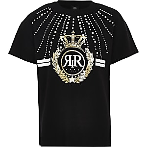 Zwart T-shirt met siersteentjes en RI-logo voor meisjes