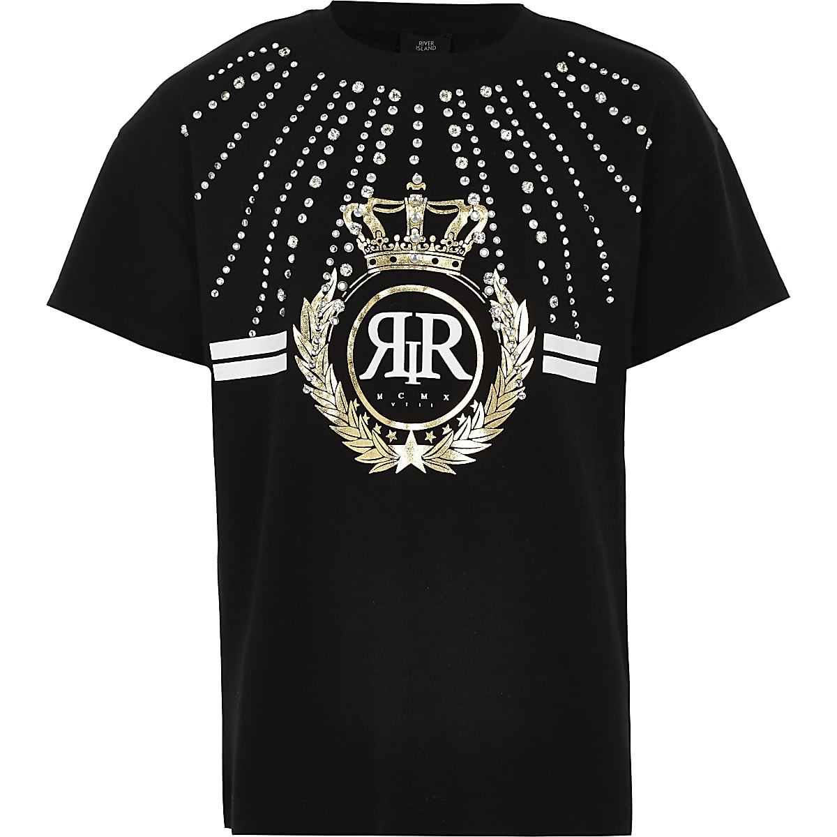 Girls black RI diamante embellished T-shirt