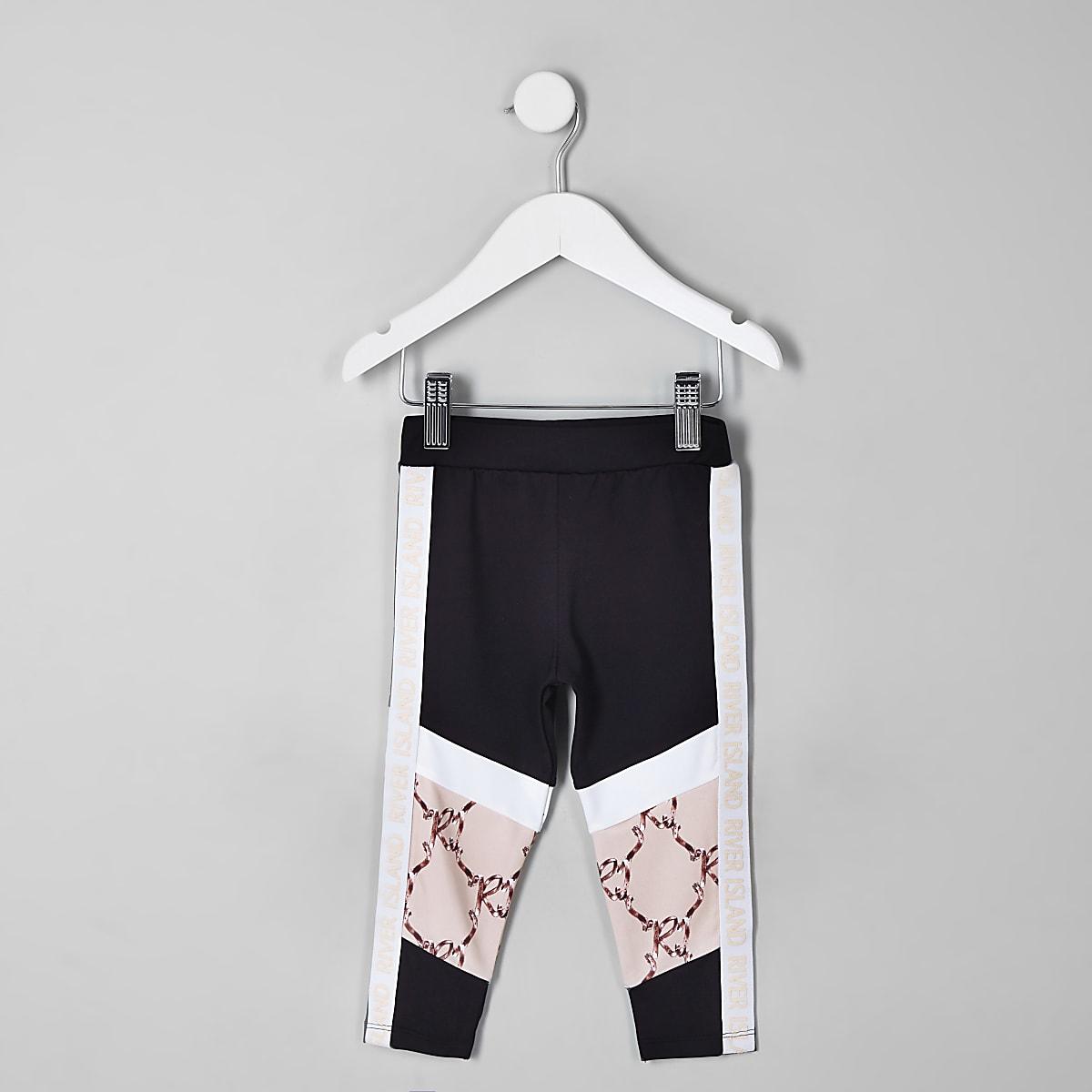 Mini - RI Active - Zwarte legging met blokprint voor meisjes