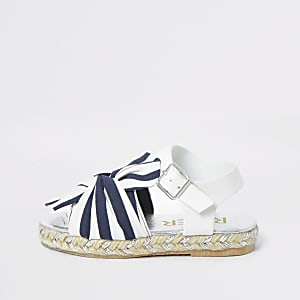 Mini girls navy stripe espadrille sandals