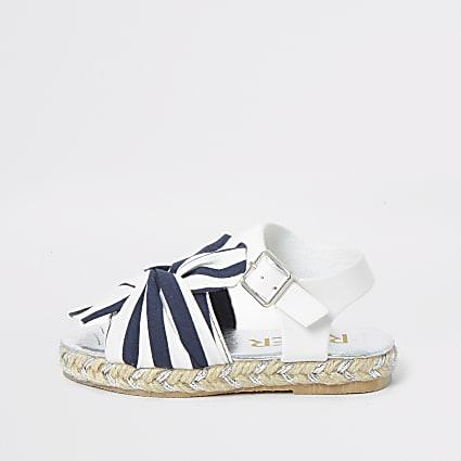 Mini girls navy stripe espadrille sandals