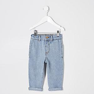 Mini - Blauwe mom jeans voor meisjes