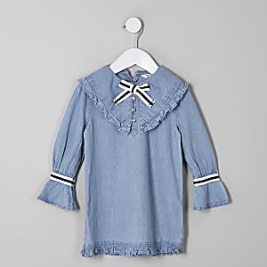 Mini girls blue bow shift denim dress