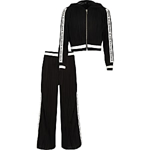 Girls black plisse RI track outfit