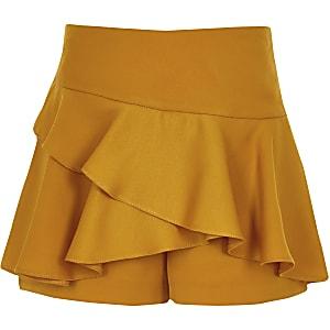 Jupe-culotte rara jaune foncé à volant pour fille
