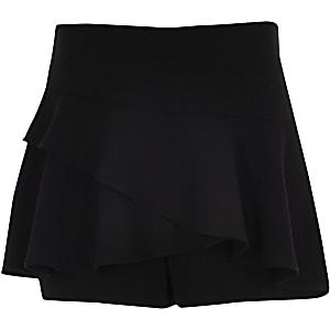 Jupe-short noire à volants pour fille