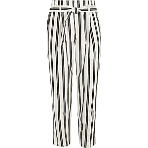 Girls white stripe tie waist tapered pants