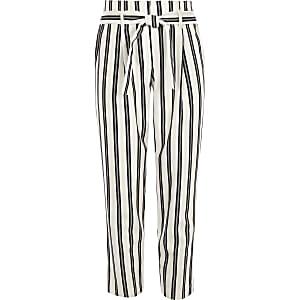 Girls white stripe tie waist tapered pants