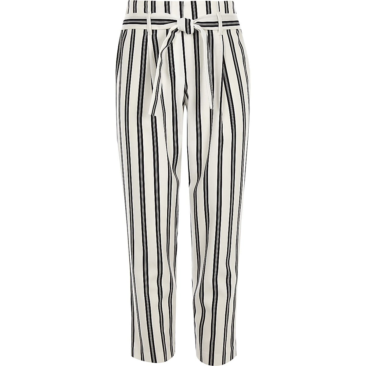 Girls white stripe tie waist tapered trousers