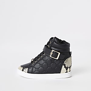 Girls black RI snake hi top sneakers
