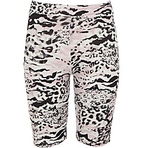Girls pink leopard print cycling shorts