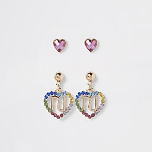 Lot de boucles d'oreilles motif cœur et arc-en-ciel pour fille