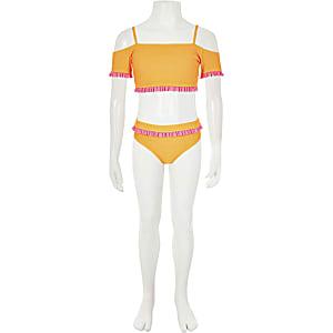 Oranje bikiniset in bardotstijl voor meisjes