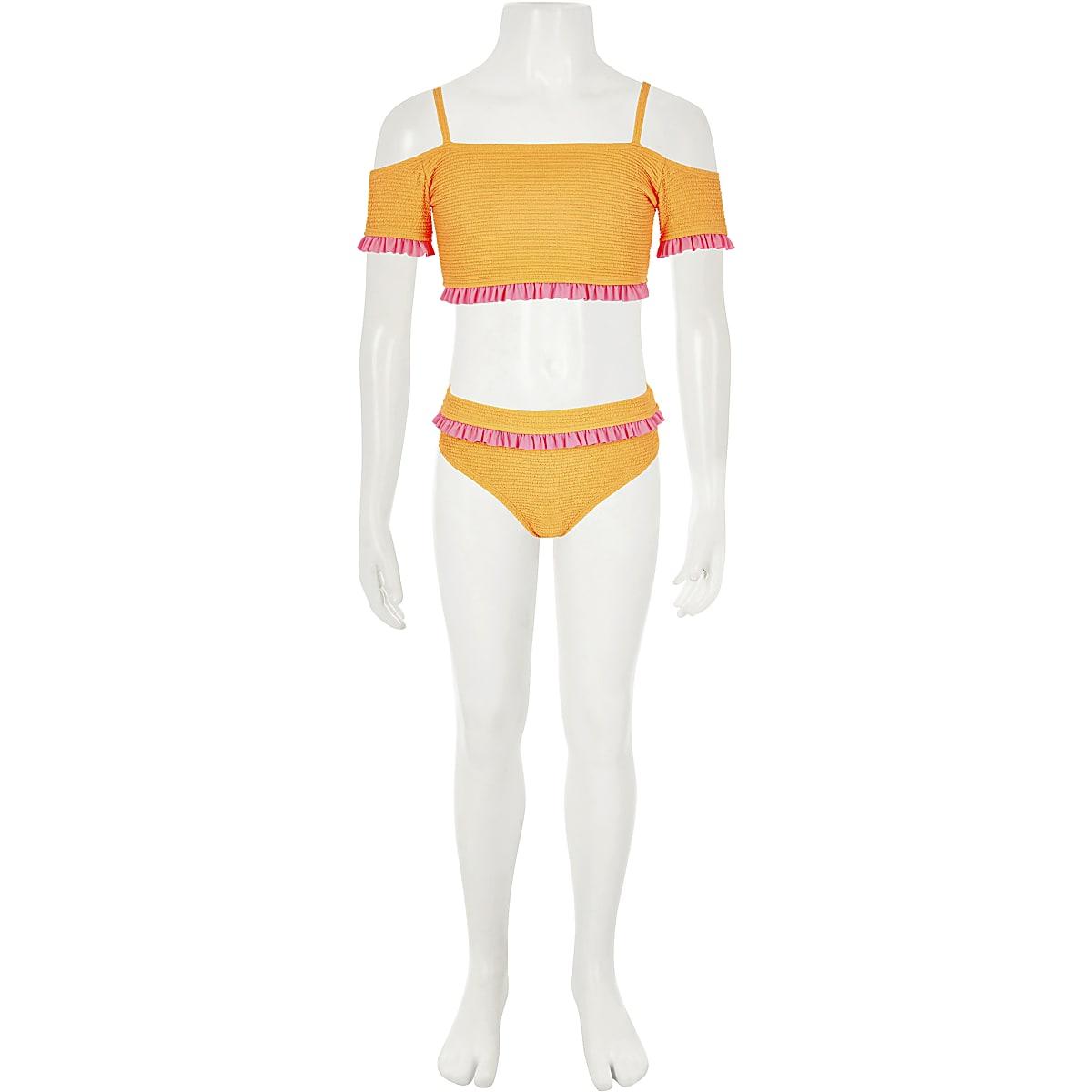 Girls orange bardot bikini set