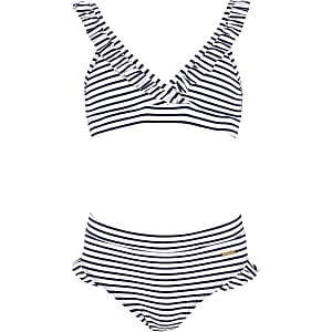 Girls white stripe triangle bikini set