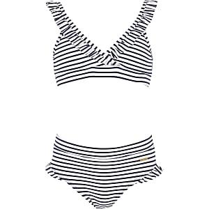 Bikini triangle rayé blanc pour fille