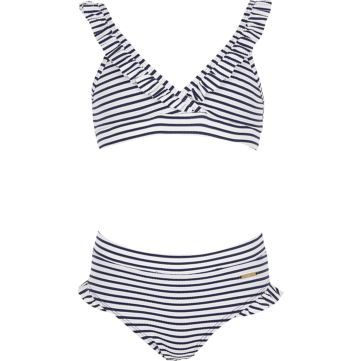 Girls white stripe triangle bikini set
