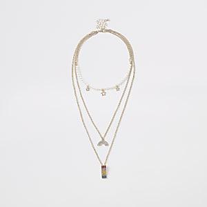 Girls gold tone rainbow layered necklace