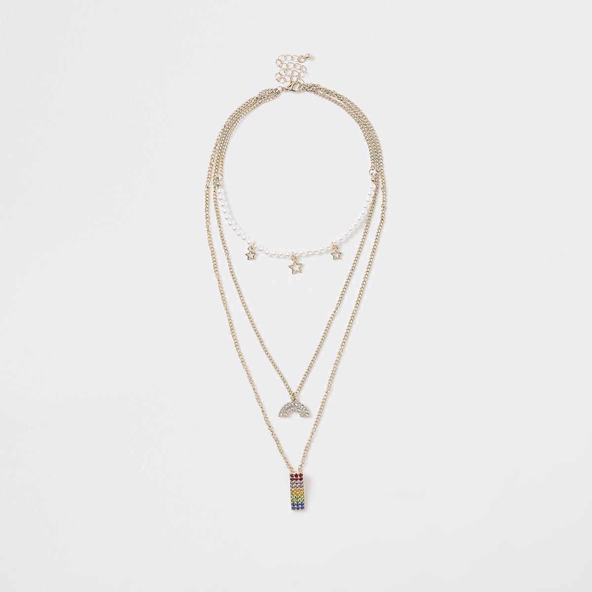 Girls gold tone rainbow layered necklace
