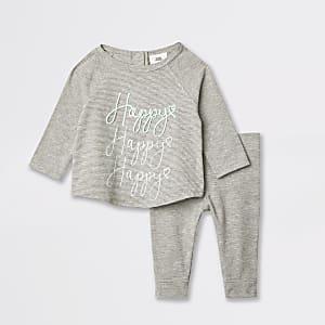 Grijze gestreepte geborduurde T-shirtoutfit voor baby's