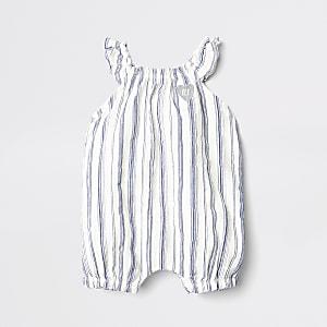 Barboteuse texturée rayée beige pour bébé