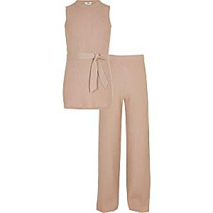 Outfit met roze metallic tuniektop voor meisjes