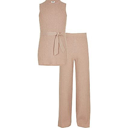 Girls pink metallic tunic top outfit