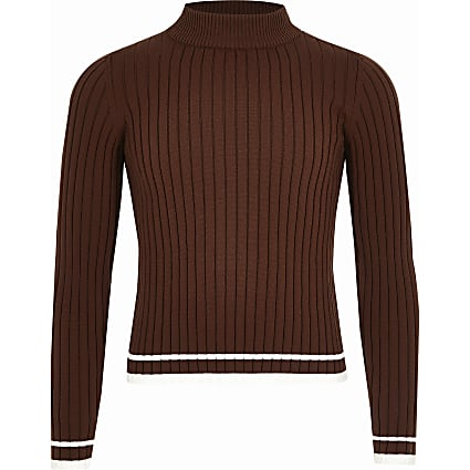 Girls brown ribbed high neck jumper