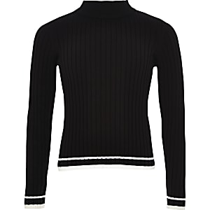 Girls black rib tipped jumper