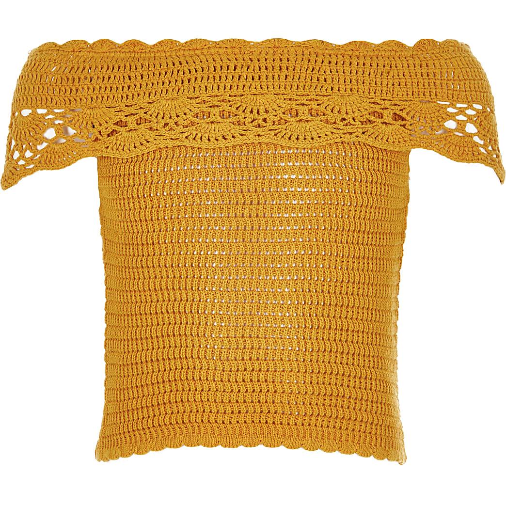 Gele gehaakte bardottop voor meisjes