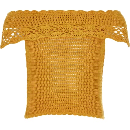 Girls yellow crochet bardot top